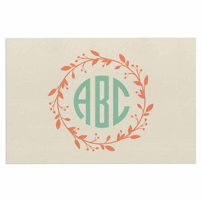 Classic Wreath Monogram Doormat Color: Green/Cream