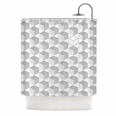 Grayscale Cubed Shower Curtain