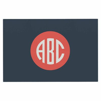 Classic Circle Monogram Typography Decorative Doormat Color: Blue