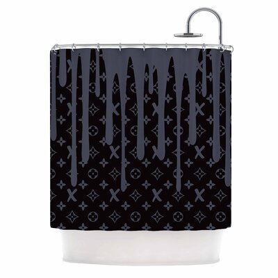 Lx Drip Illustration Shower Curtain Color: Black/Gray