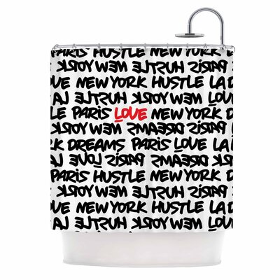 Lux Writing Urban Typography Shower Curtain Color: Black/Red