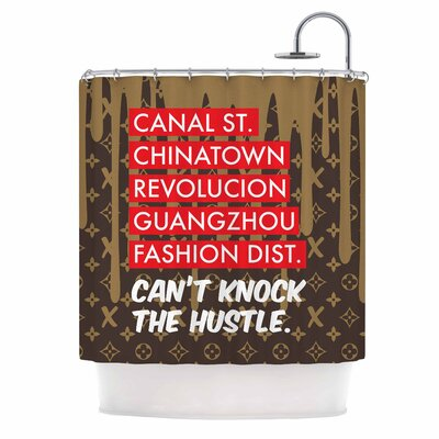 Cant Knock the Hustle Urban Shower Curtain Color: Brown/Red
