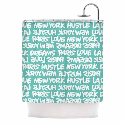 Lux Writing Urban Typography Shower Curtain Color: Teal/White
