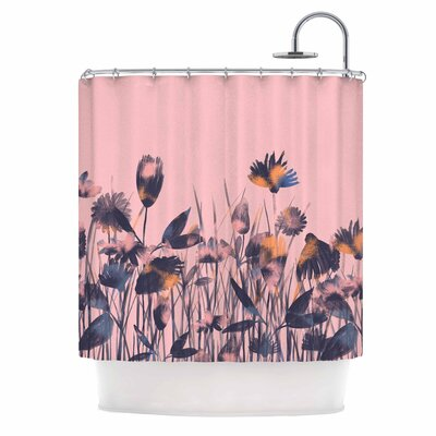 Crazy Flowers Illustration Shower Curtain
