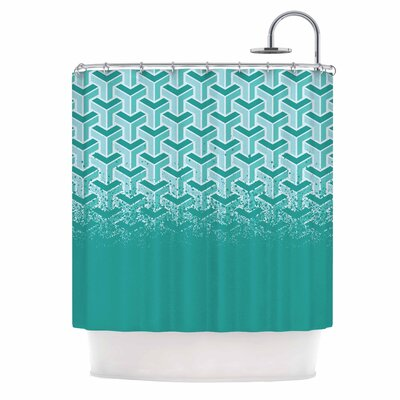 No Yard Vector Shower Curtain Color: Teal/White
