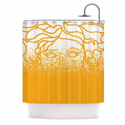 Versus Spray Illustration Shower Curtain Color: Gold/White