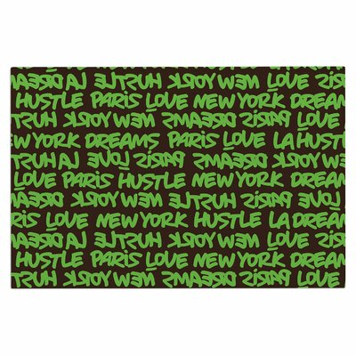 Lux Writing Doormat Color: Green/Brown