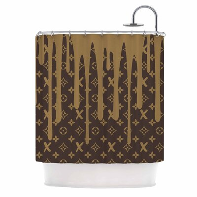 Lx Drip Illustration Shower Curtain Color: Brown