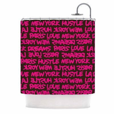 Lux Writing Urban Typography Shower Curtain Color: Pink/Brown