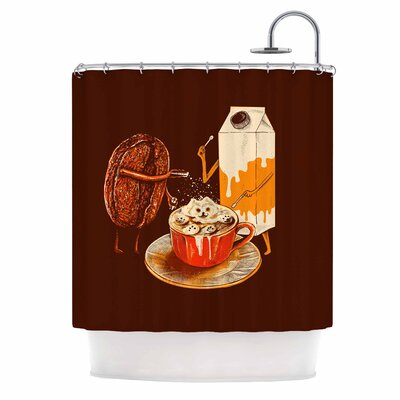 Latte Art Illustration Shower Curtain