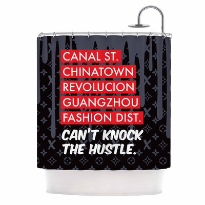 Cant Knock the Hustle Urban Shower Curtain Color: Black/Red
