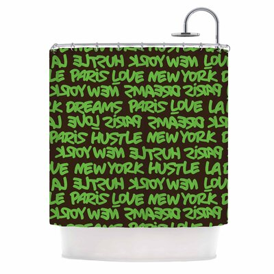 Lux Writing Urban Typography Shower Curtain Color: Green/Brown