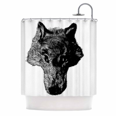 Black Head Coyote Digital Shower Curtain