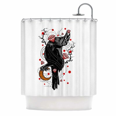 Crow Diamond Digital Shower Curtain