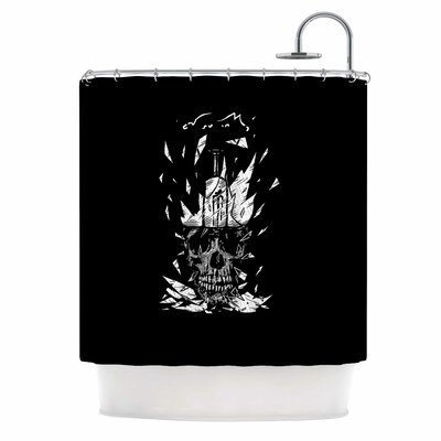 Broken Bulb Skull Digital Shower Curtain