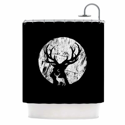 Deer at Night Digital Shower Curtain