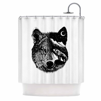 Night Wolf Illustration Shower Curtain