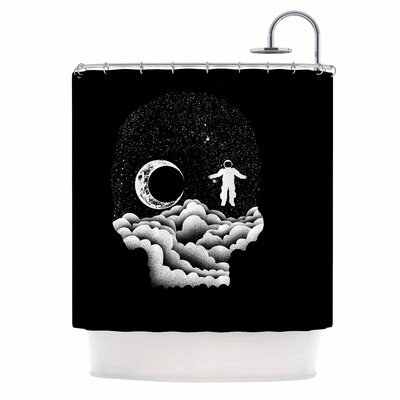 Space Skull Illustration Shower Curtain