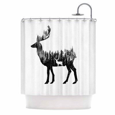 The Deer Digital Shower Curtain