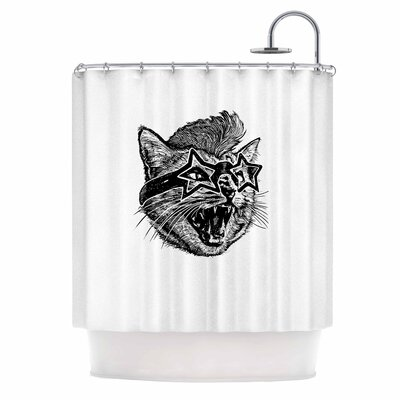 Funky Cat Illustration Shower Curtain