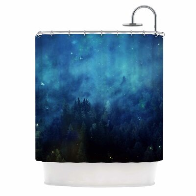 Blue Night Forest Shower Curtain