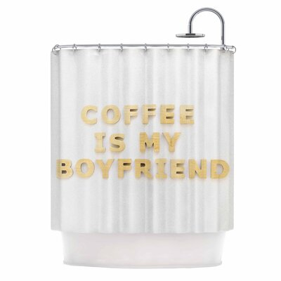 Image of 'Coffee is My Boyfriend' Typography Shower Curtain