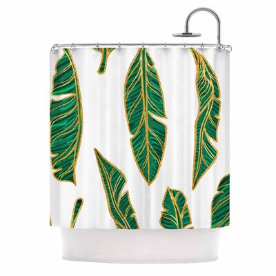Banana Leaf Gold Digital Shower Curtain