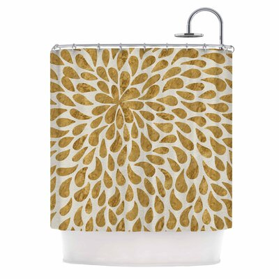 Abstract Golden Flower Shower Curtain