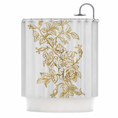 Golden Vintage Rose Digital Shower Curtain