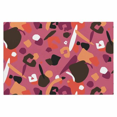 Abstract Leopard Doormat Color: Brown/Pink