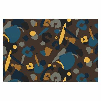 Abstract Leopard Doormat Color: Teal/Brown