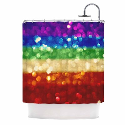 Rainbow Bokeh Digital Shower Curtain