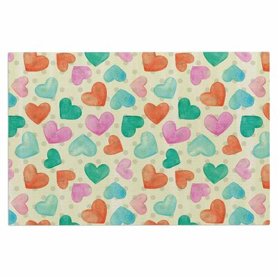 Watercolor Hearts Doormat