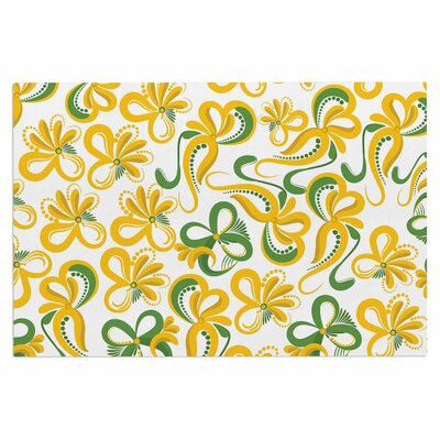 Green Yellow Flowers Doormat