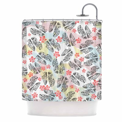 Sports Shoes Floral Illustration Shower Curtain