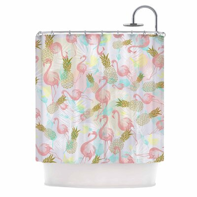 Tropical Fruit Animals Illustration Shower Curtain