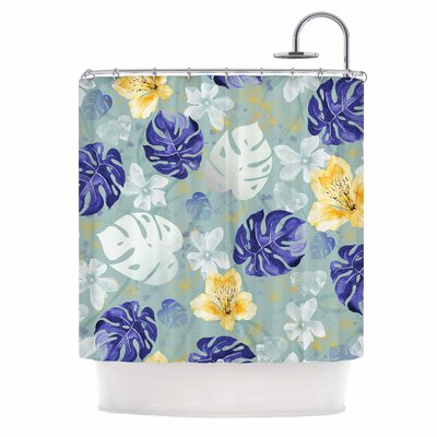 Leaves Monstera and Orchids Digital Shower Curtain