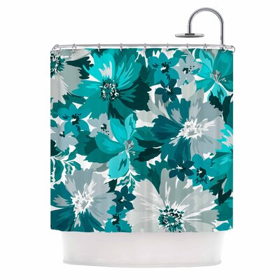 Turquoise Blossoms Illustration Shower Curtain