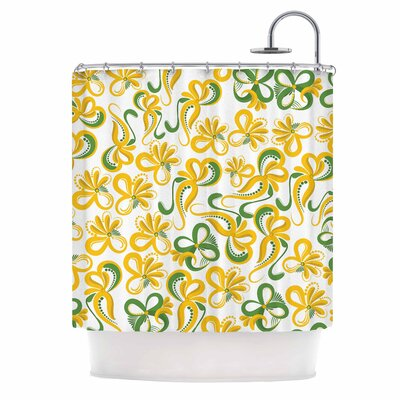 Green Yellow Flowers Digital Shower Curtain