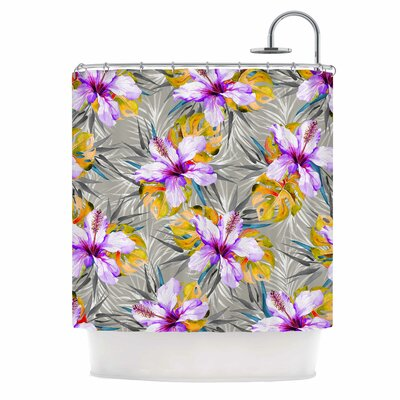 Tropical Flowery Illustration Shower Curtain