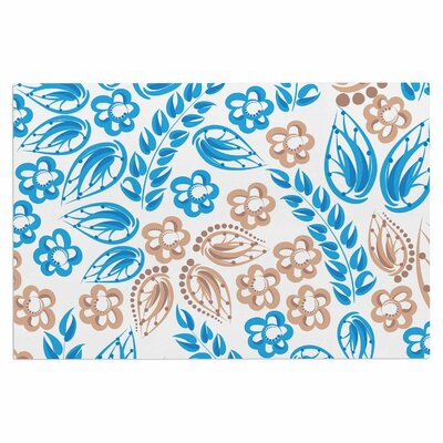 Blue White Flowers Doormat