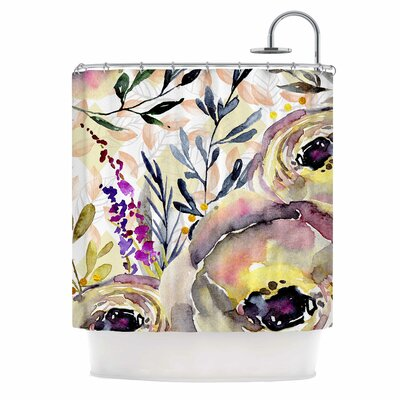 Watercolor Flowers and Leaves Illustration Shower Curtain