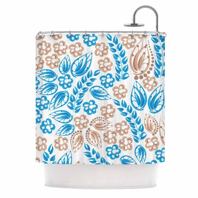 Blue White Flowers Shower Curtain