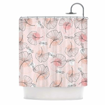 'Pattern Flowers and Dragonflies' Illustration Shower Curtain