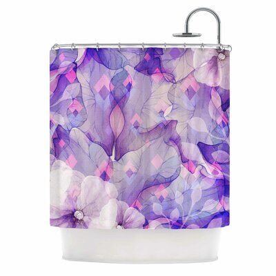 Rhombuses and Purple Leaves Illustration Shower Curtain