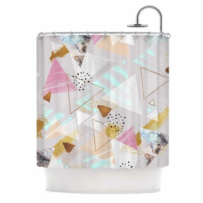 'Abstract Triangles Texture' Digital Shower Curtain