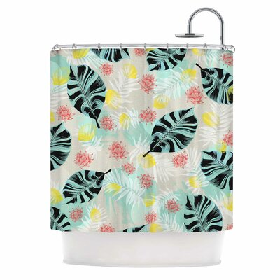 Tropical Plants Illustration Shower Curtain