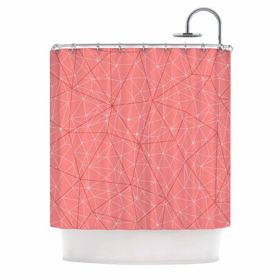 'Wanderlust' Shower Curtain Color: Pink/Coral