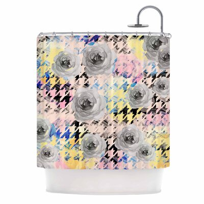 Houndstooth and Flowers Illustration Shower Curtain
