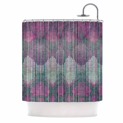 'Vintage Ikat' Shower Curtain Color: Pink/Green